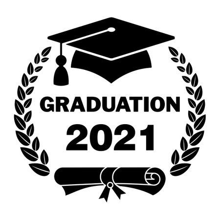 Graduate cap black  with laurel wreath