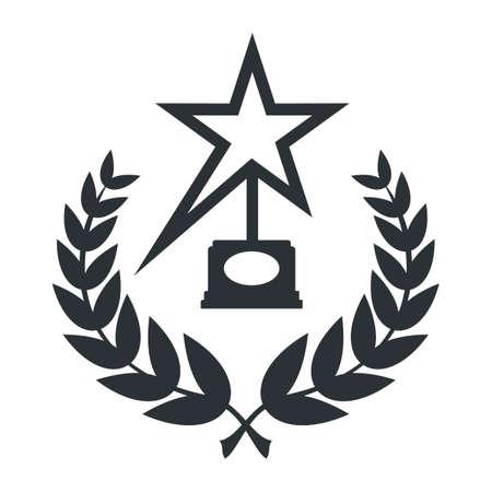 Film Award for the best film in the form of sign with laurel branch. Ilustração