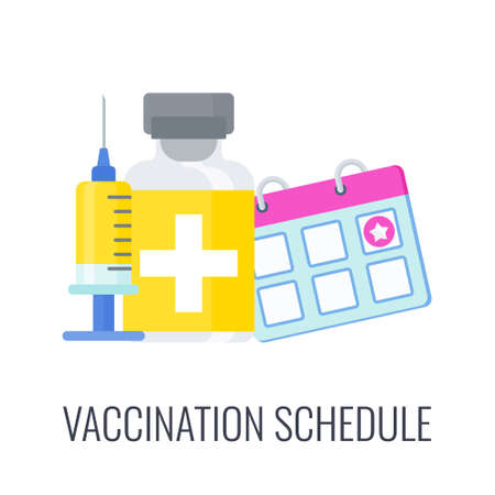Vaccination schedule. Doctor with huge syringe and dose of vaccine. 矢量图像