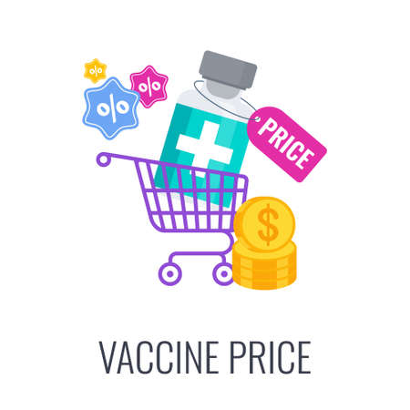 Vaccination price icon. Free vaccination of the poor 矢量图像