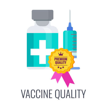 Vaccination quality icon. Syringe and dose of vaccine.
