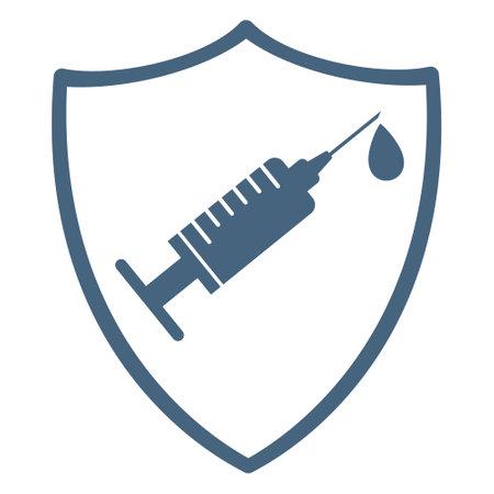 Vaccination shield black icon. Syringe and dose of vaccine. 矢量图像
