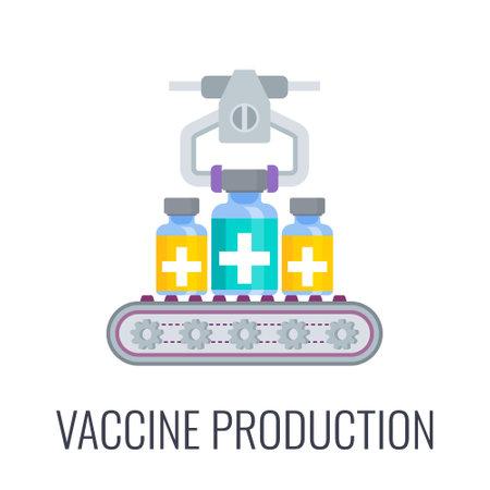 Vaccine production icon. Plants and laboratories icon.