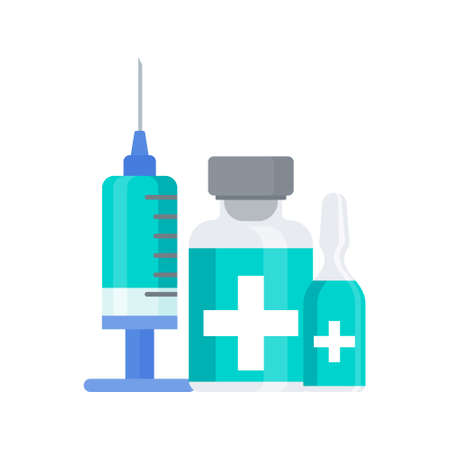 Vaccination icon. Syringe and dose of vaccine. Protect people