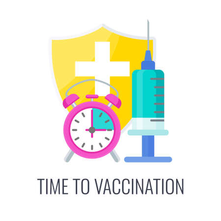 Time to Vaccination icon. Syringe and dose of vaccine. 矢量图像