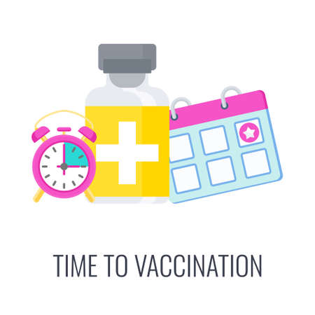 Vaccination schedule for priority populations. Syringe and dose of vaccine 矢量图像