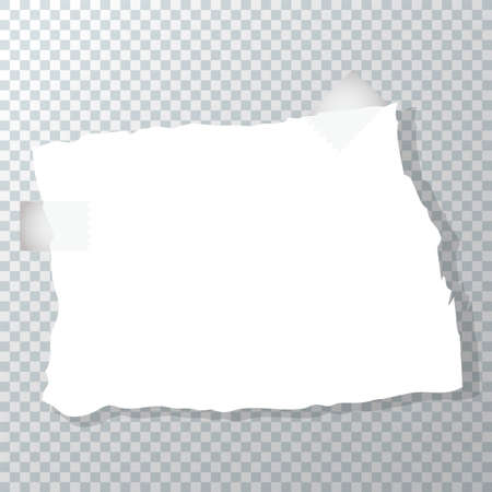 Torn piece of crumpled paper. Paper sticker is glued with tape