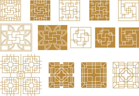 Chinese square frame and outline elements. Oriental decorations 矢量图像