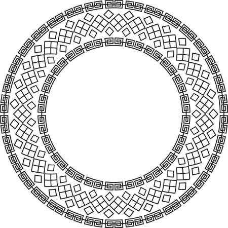 Chinese round frame and outline elements. Oriental decorations.