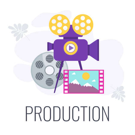 Video marketing banner with icons. Digital marketing.