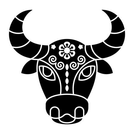 Golden bull symbol of 2021. Card with bull head with pattern.