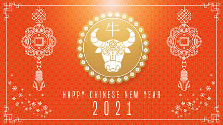 Happy chinese new year 2021. Calendar with ox.