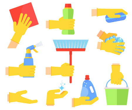 Clean flat vector icons set. Collection of cleaning tools in hand.