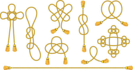 Cord with tassels tied into a woven knot.