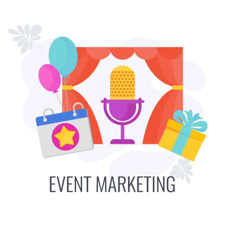 Event marketing Icon. Holiday calendar date. Cake, camera 向量圖像
