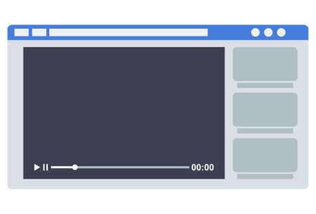 Video screen vector illustration. Video player or recorder