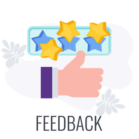 Customer feedback. Hand with thumb up. Positive review.