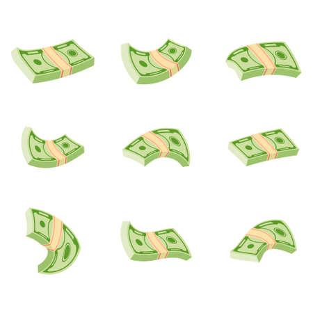 Flying wad of money. Flat vector cartoon money illustration. 向量圖像