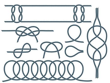 Set of nautical rope knots. Marine rope knot 向量圖像