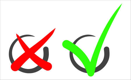 Check mark stickers. Vector. Sign to indicate consent or inclusion 向量圖像