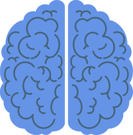 Brain icon. Top view, side view. Mind, creativity and knowledge. Illustration