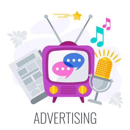 Advertising marketing icon. TV, ragio and newspaper.