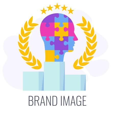 Brand image infographics icon. Puzzle human head on winner podium.