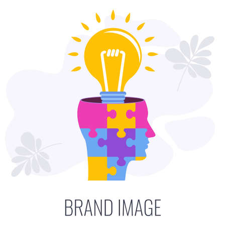 Brand image infographics icon. Lamp in puzzle human head. Illustration