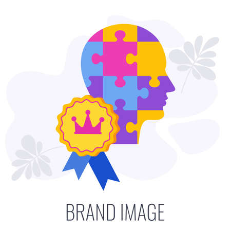 Brand image infographics icon. Crown on puzzle human head.