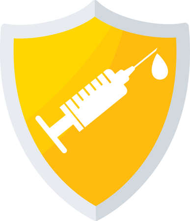 Vaccination shield icon. Syringe and dose of vaccine.