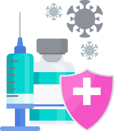 Vaccination icon. Syringe and dose of vaccine. Protect people Stock Vector - 165912329