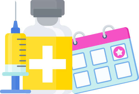 Time to Vaccination icon. Syringe and dose of vaccine. Illustration