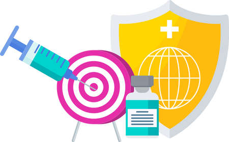 Syringe with dose of vaccine hits the center of the target. Illustration