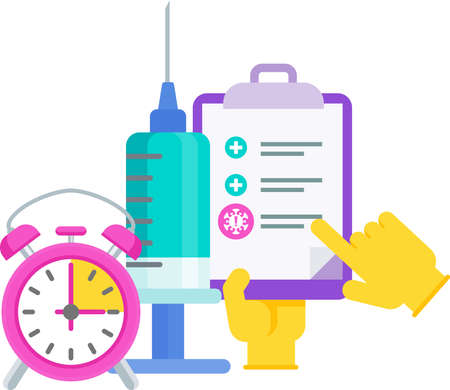 Vaccination schedule. Doctor with huge syringe and dose of vaccine. Illustration