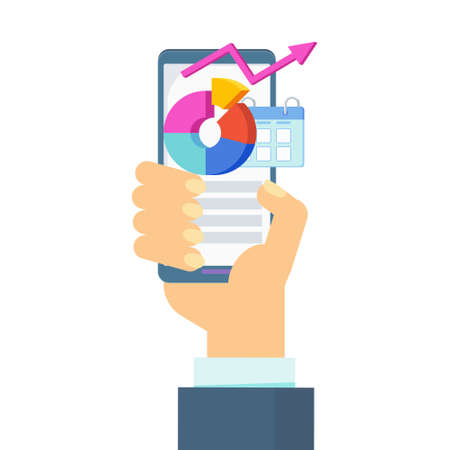 Function Of A Mobile App. Hand with phone.