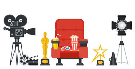 Film directors chair with megaphone, projector, camera and clapboard