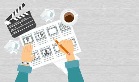 Storyboarding process image. Flat vector cartoon illustration.