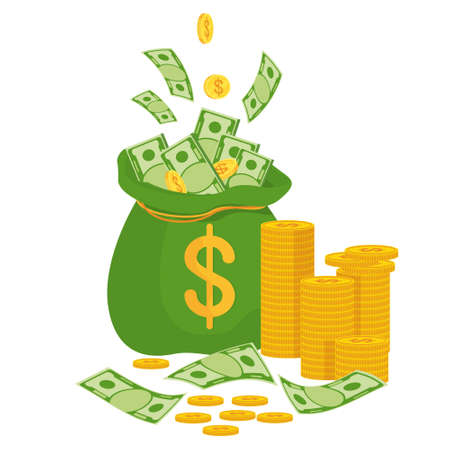 Money bag with banknotes. Symbol of wealth, success and good luck. Vector Illustratie