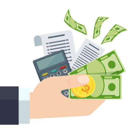 Payment of bills flat vector illustration. Hand keeps dollars. Ilustração