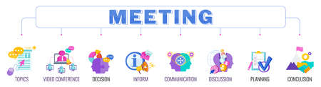 Meeting banner with color icons. Teamwork, working, meeting and management. Ilustração