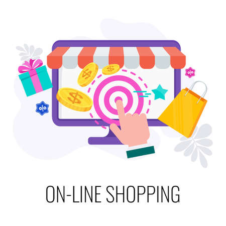 Online shopping icon. Choosing, ordering and paying