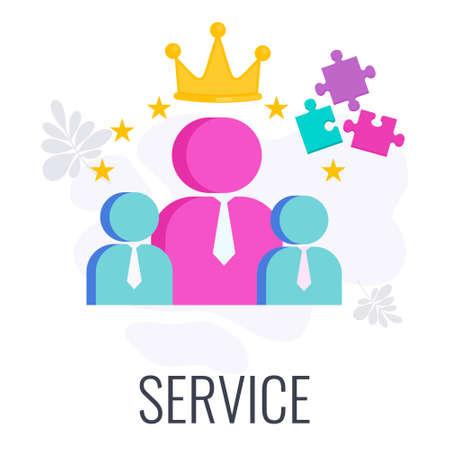 Customer service color icon. Flat vector illustration. Ilustração