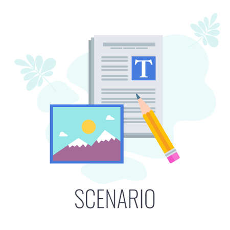 Scenario icon. Video marketing. Digital marketing. Flat vector illustration. Ilustração