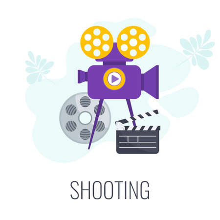 Shooting icon. Video marketing. Digital marketing. Flat vector illustration. Ilustração