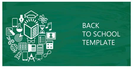 Back to school flat vector background. White icons on green chalkboard. Ilustração