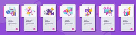 Kinds of marketing. Concept banner with color icons. Ilustração