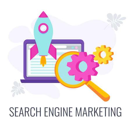 Search engine marketing icon. SEO strategy. Digital Marketing