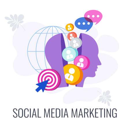 Social Media Marketing icon. Digital marketing Strategy. Ilustração