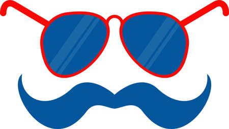 Glasses and mustache flat vector icon. Independence day of USA