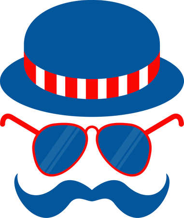 Bowler hat, glasses and mustache flat vector icon. Independence day of USA.